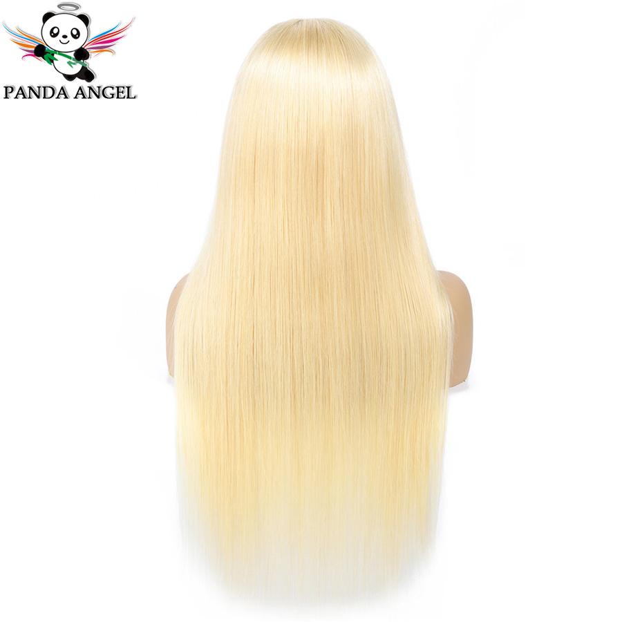 H7de4e21e770b4029a1c6e29abcd302e1C Panda 4x4 Honey Blonde Lace Wigs #613 Brazilian Hair Ombre Straight Lace Closure Wig 150% Density Blonde Human Hair Wigs Remy