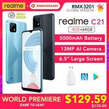 [Dünya prömiyeri!] realme için C21 4GB 64GB küresel sürüm NFC 5000mAh pil 6.5