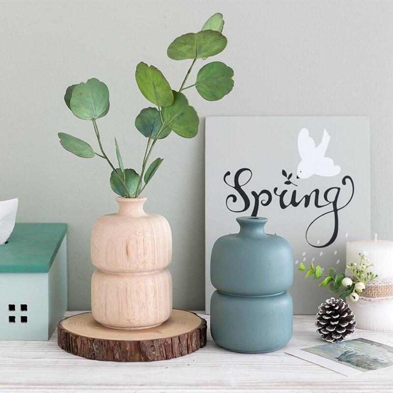 22.26US $ 30% OFF Nordic Wood Vase Morandi Colors Plants Small Flower Crafts Eucalyptus Holder Vases...