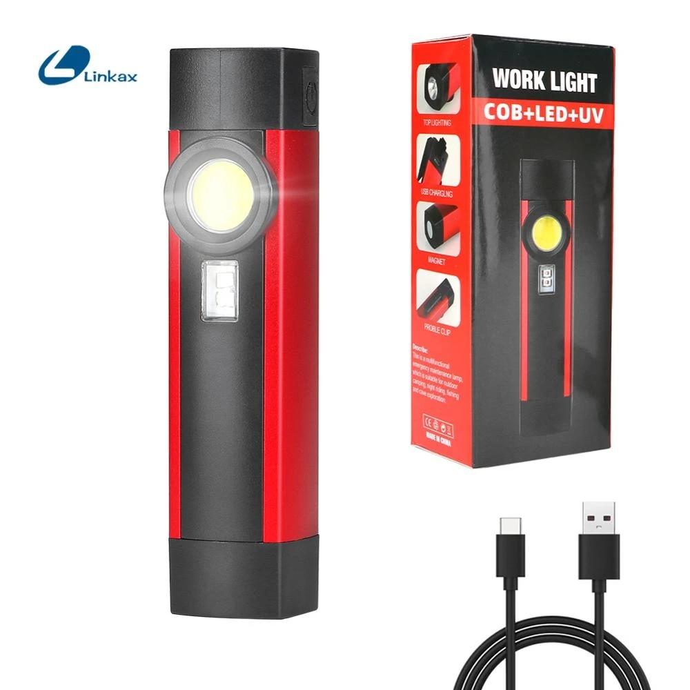 LED Flashlight COB XPE Working Light Portable Work torch UV Black light 4 modes