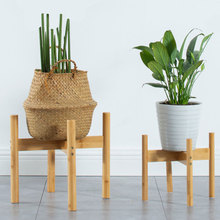 Bonsai-Holder Foot-Pad Flower Modern-Shelf Balcony Wood Bamboo Home with Smooth-Surface