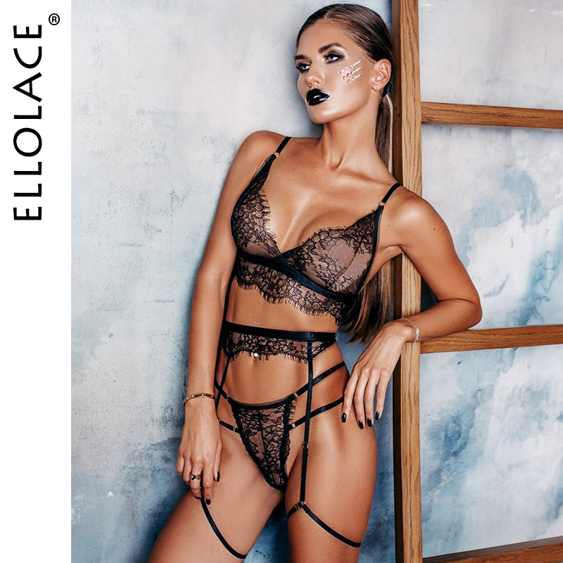 Ellolace Sexy Lace Lingerie Women Underwear 3 Piece Set See Through Bodycon Bra Patry Set Black Lingeries Bodydoll Sexy Sets