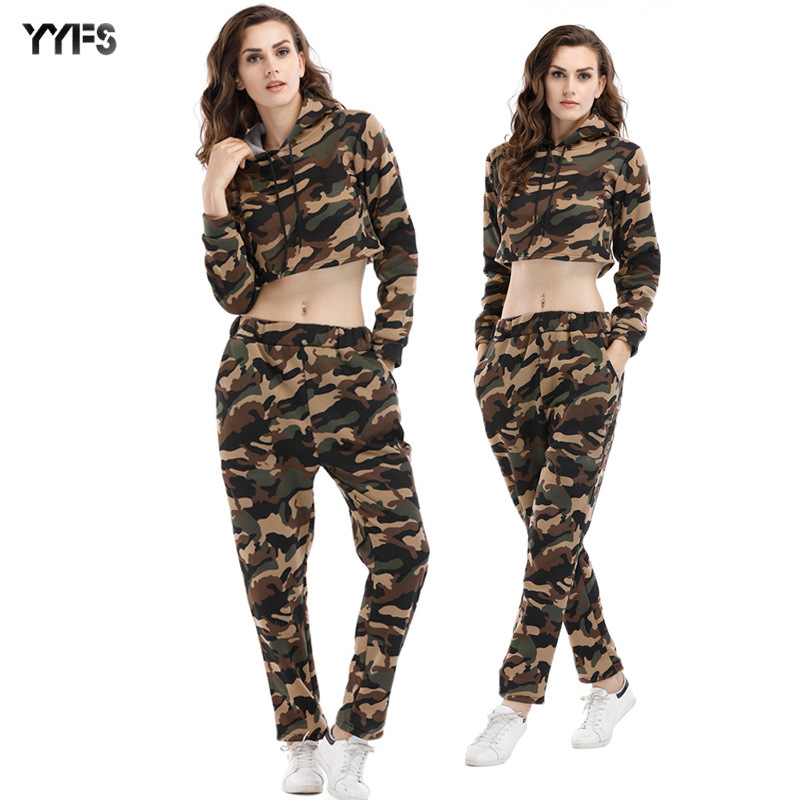 Autumn And Winter New Style WOMEN'S Sweater Camouflage Hooded Short Tops WOMEN'S Pants Casual Sportswear