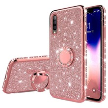 Glitter Diamond Case For Samsung Galaxy A20E A10E A80 A70 A60 A50 A40 A30 M30 M20 A8 A6 Plus A7 J8 J6 J4 2018 Finger Ring Cover plating diamond bling case for samsung galaxy a8 a7 a6 2018 plus metal ring stand case cover for samsung a6 plus a8 plus