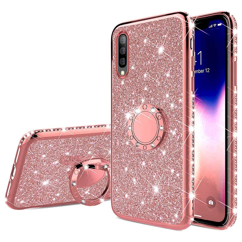 Glitter Diamond <font><b>Case</b></font> For <font><b>Samsung</b></font> <font><b>Galaxy</b></font> A71 A51 A70S A20S A10S M30S A90 5G A80 <font><b>A70</b></font> A60 A50 A40 A30 M30 M20 M10 Finger <font><b>Ring</b></font> Cover image