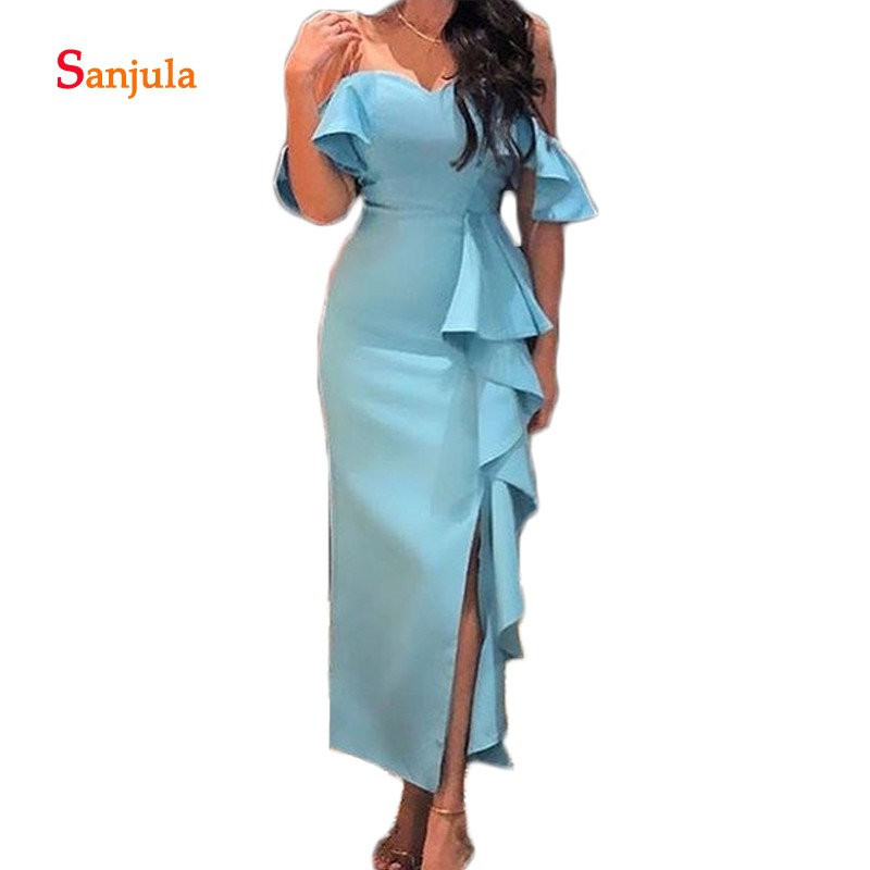 Sirène Satin robes de soirée chérie rouge foncé longue robe formelle pour les femmes simples robes de bal pas cher suknie wieczor5% D1078