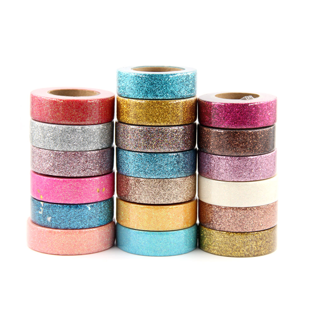 1PC Glitter Washi Tape Stationery Scrapbooking Decorative Adhesive Tapes DIY Color Masking Tape School Supply Papeleria 15mm*5m