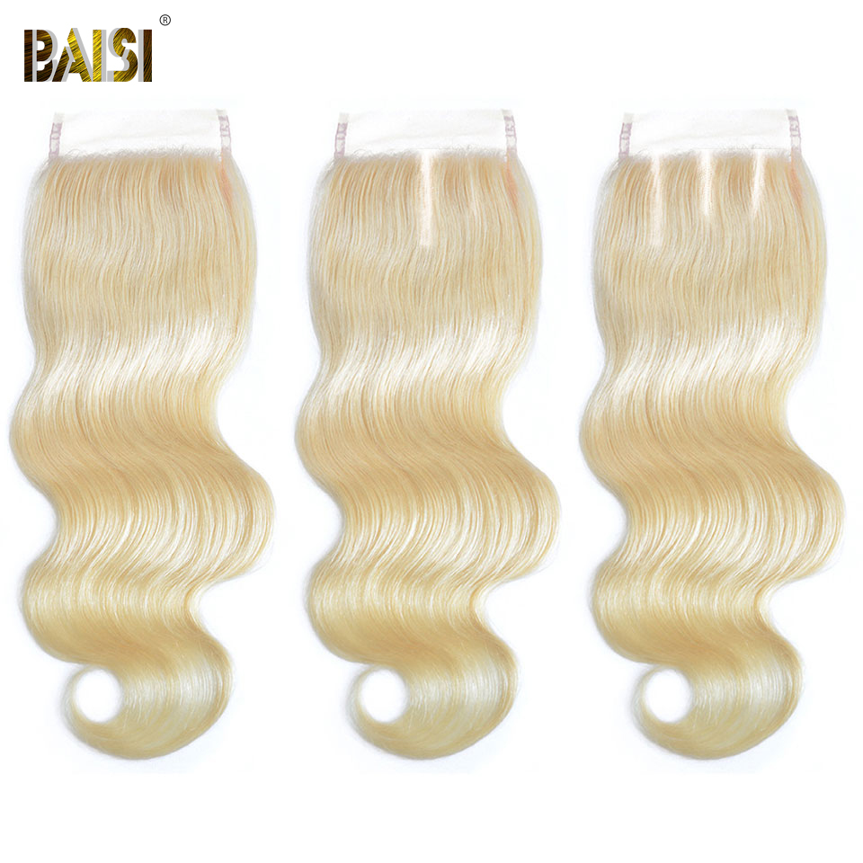 BAISI Brazilian Hair 4x4 Transparent Lace Closure Straight Body Wave 613 Closure Middle Part Human Hair Closure Closures Only