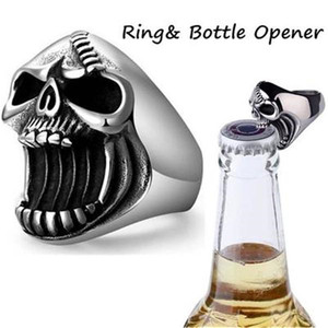 Punk Bottle Opener Ring Men Hip Hop Skull Head Rings Cool Fashion Rings New Gothic Jewelry Ring Male Unisex Vintage Accessories