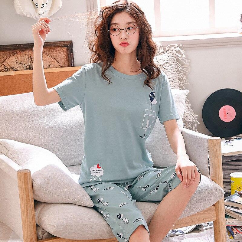 Брюки до щиколотки + Топы с коротким рукавом, пижамные комплекты, хлопковая одежда для сна, женская летняя Пижама, 2 шт./компл.
