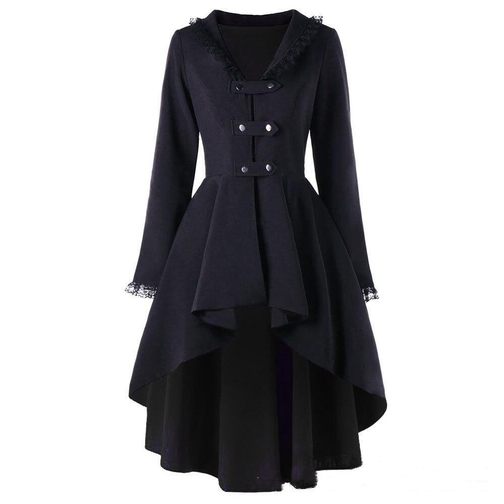 Rétro médiévale dame smoking gothique femme automne noir à lacets Vintage veste Punk Rock hiver Patchwork pardessus grande taille 5XL