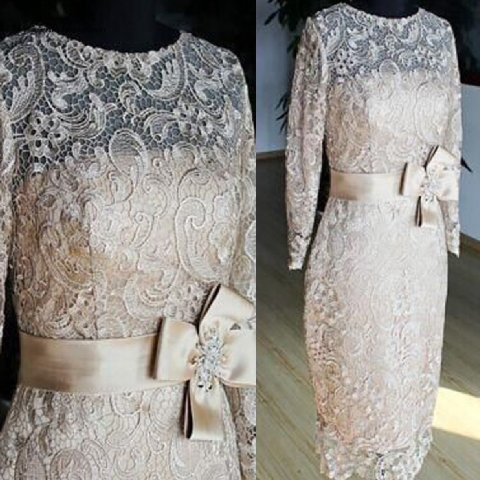 Lakshmigown Champagne Mother of The Bride Plus Size Short Dresses Tea Length Lace Wedding Party Dress 2019 Robes Pour Marraine title=