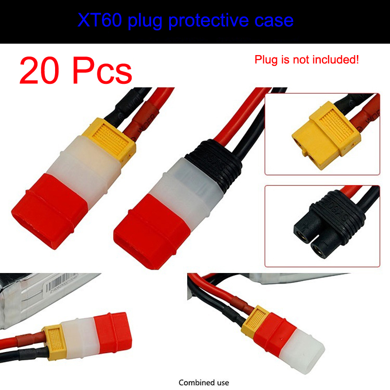 20Pcs FPV XT60 Plug Protective Case Anti-battery Short Circuit Protection Cover Spare Parts for Model RC Aircraft Car Boat