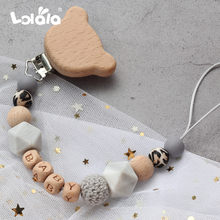 Wood Pacifier Clips Safe Teething Chain Baby Teether Eco-friendly Dummy Clips Holder Personalized Name