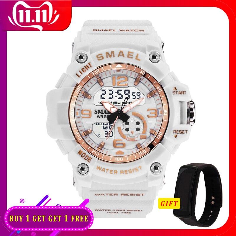 Digital Watch Women 50M Waterproof SMAEL Fashion Ladies Watch Bracelets Alarm Clock Relogio Feminino1808 Woman LED Sport Watches