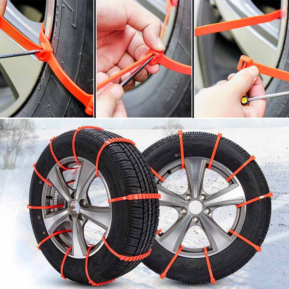 Vehemo Orange for Accessories Snow Chain Anti-Skid Chains Snow Tire Belt Climbing Mud Ground Roadway Safety Vehicles Tyre image