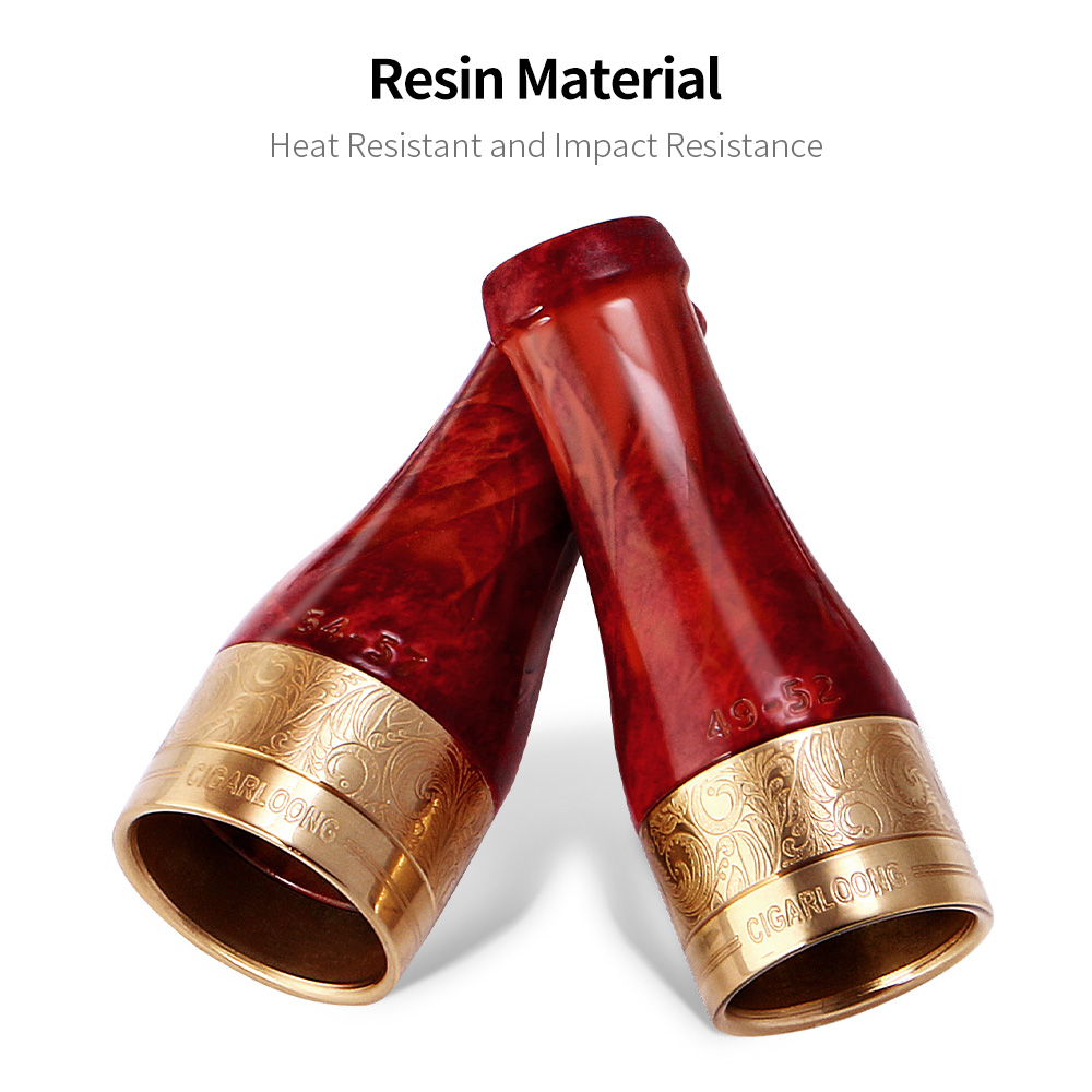 CIGARLOONG Gadgets Gold Red Pure Copper Resin Cigar Pipe Case Holder Nozzle 4 Sizes Cigar Holder Smoke Nozzle Tip CP 0003 in Cigar Accessories from Home Garden