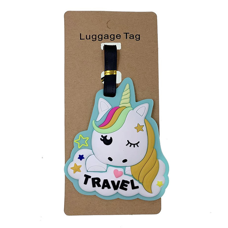 Travel Accessories Kawaii Cartoon Unicorn Luggage Tags Silica Gel Suitcase ID Addres Holder Portable Women Baggage Boarding