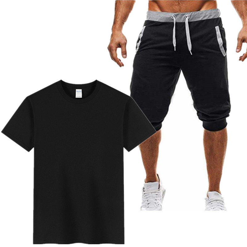 Popular Brand Europe And America Hot Selling Summer Fitness Healthy Beauty Sports Set MEN'S Short-sleeved T-shirt And Capri Fitn