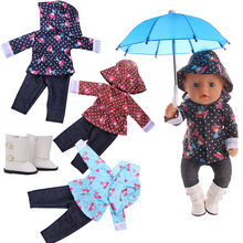 Doll Raincoat Rain Boots Umbrella Suitable 18inch American Baby Dolls And 43cm Reborns Dolls Generations Girls Holiday For Gift(China)