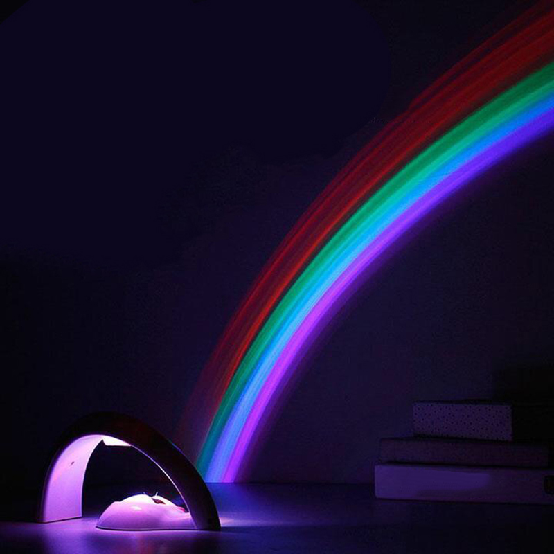 Colorful LED Rainbow Light Romantic Night Light Rainbow Projector Lamp For Bedroom Christmas Decoration Light Childen Kid's Gift