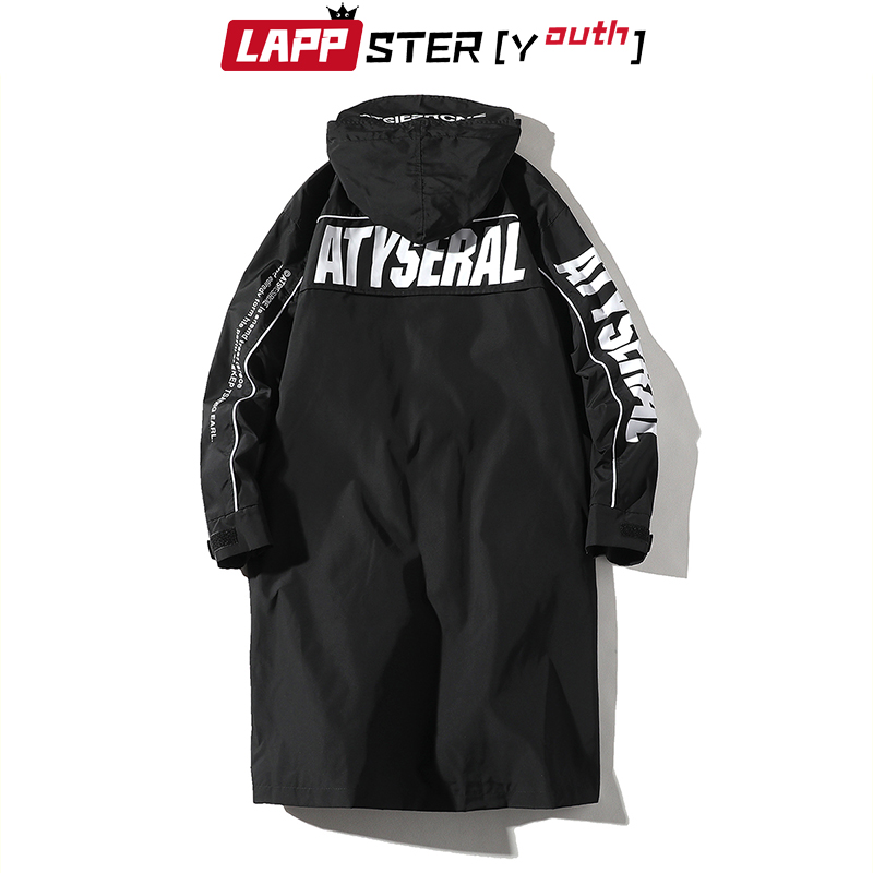LAPPSTER Streetwear Trench Coat Men 2020 Letter Pr