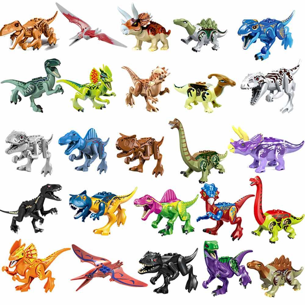Building Blocks Jurassic Park Dinosaur World Colorful Raptor Pterosaurs Triceratops Figures Toys For Kids Childrens