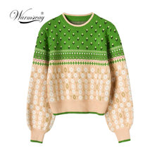 Boutique Chic Sweater Garis Emas Jacquard Motif Bunga Rajutan Pullovers 2019 Musim Gugur Musim Dingin Wanita Party Lentera Lengan Tops Jumper C-484(China)