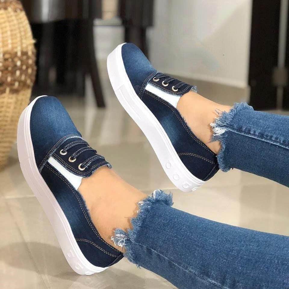 Женские туфли на плоской подошве, модная женская повседневная обувь, удобные джинсовые туфли Cnvas, повседневные туфли на плоской подошве для ...