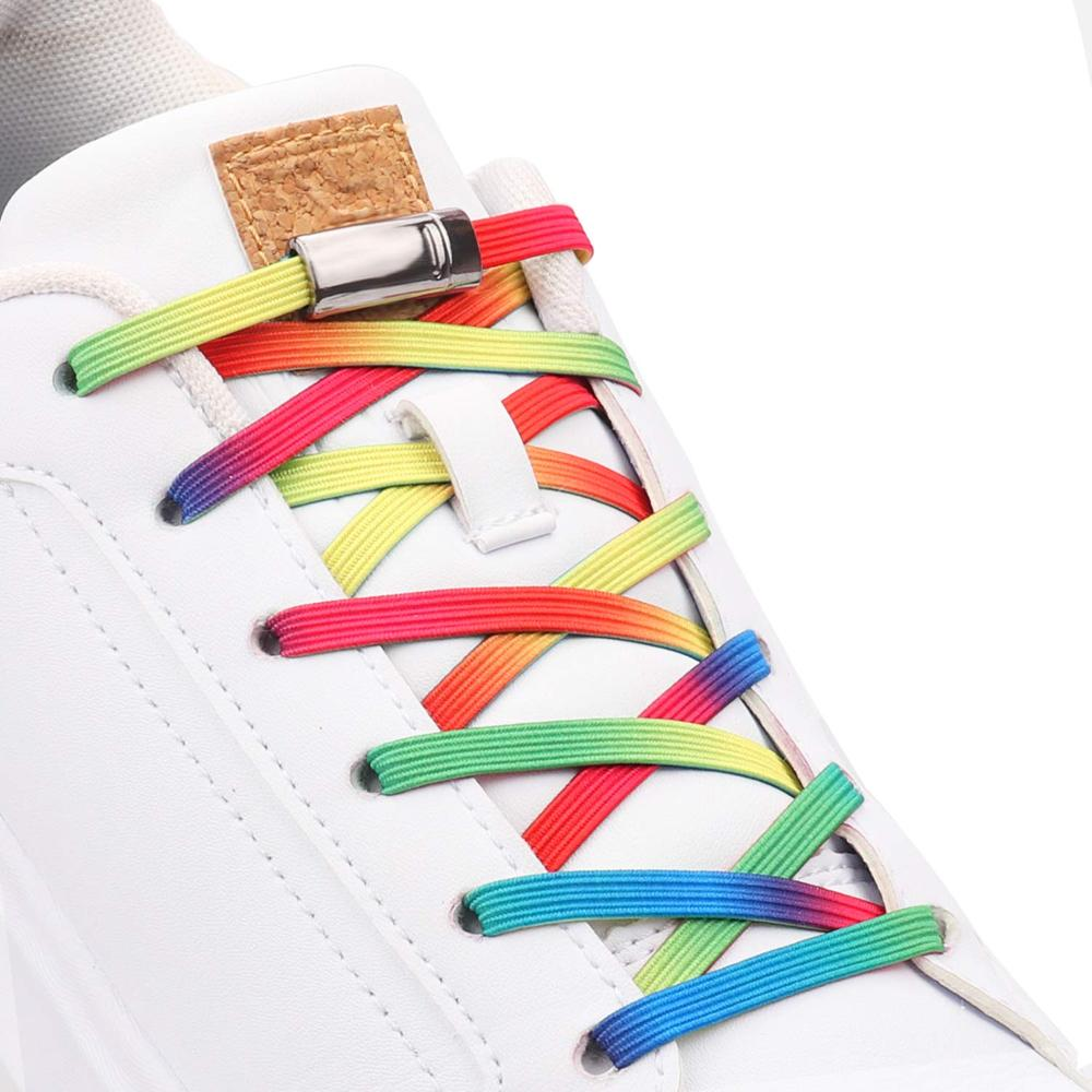 Elastic No Tie Shoelaces Magnetic Metal Locking Outdoor Leisure Sneakers Lazy Laces Kids Adult Safety Quick Flat Shoelace 1 Pair