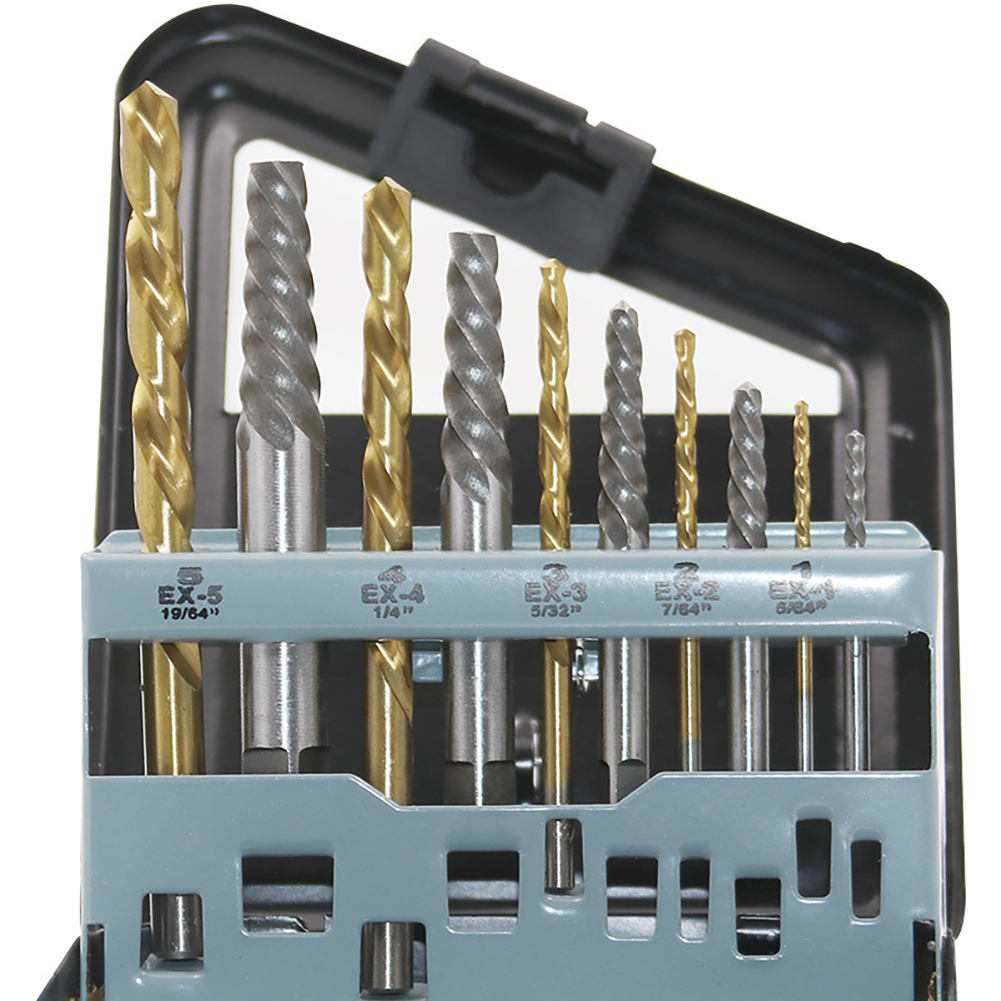 10pcs Convenient Cobalt Left Hand Drill Bit Broken Bolt Damaged Screw Extractor Set With Metal Case To Collect The Tools
