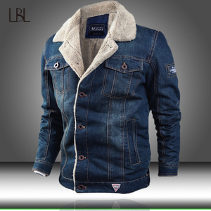 Image 1 - Men Jacket and Coat Trendy Warm Fleece Thick Denim Jacket 2020 Winter Fashion Mens Jean Jacket Outwear Male Cowboy Plus Size 4XL