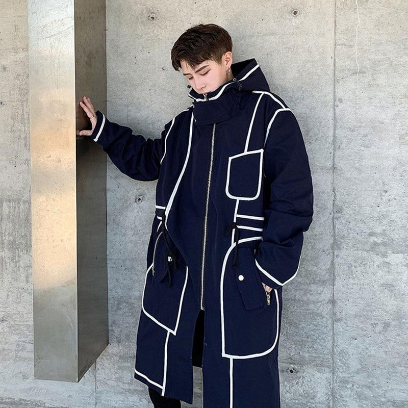 Men Women Hooded Trench Coat Streetwear Hip Hop Loose Casual Long Windbreaker Jacket Male Stripe Splice Outerwear Overcoat
