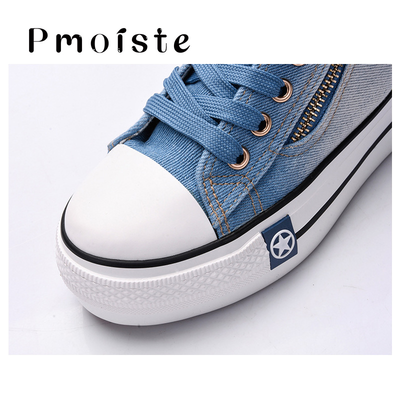 Canvas shoes for girls 2020 Spring Fashion Sneakers Solid Sewing Women Denim Shoe Sapato Feminino Size 35-41 3