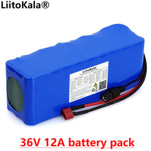 Liitokala 36V 12Ah 10s4P 18650 리튬 배터리 팩 BMS 높은 전원 12000mAh 오토바이 전기 자동차 자전거 스쿠터