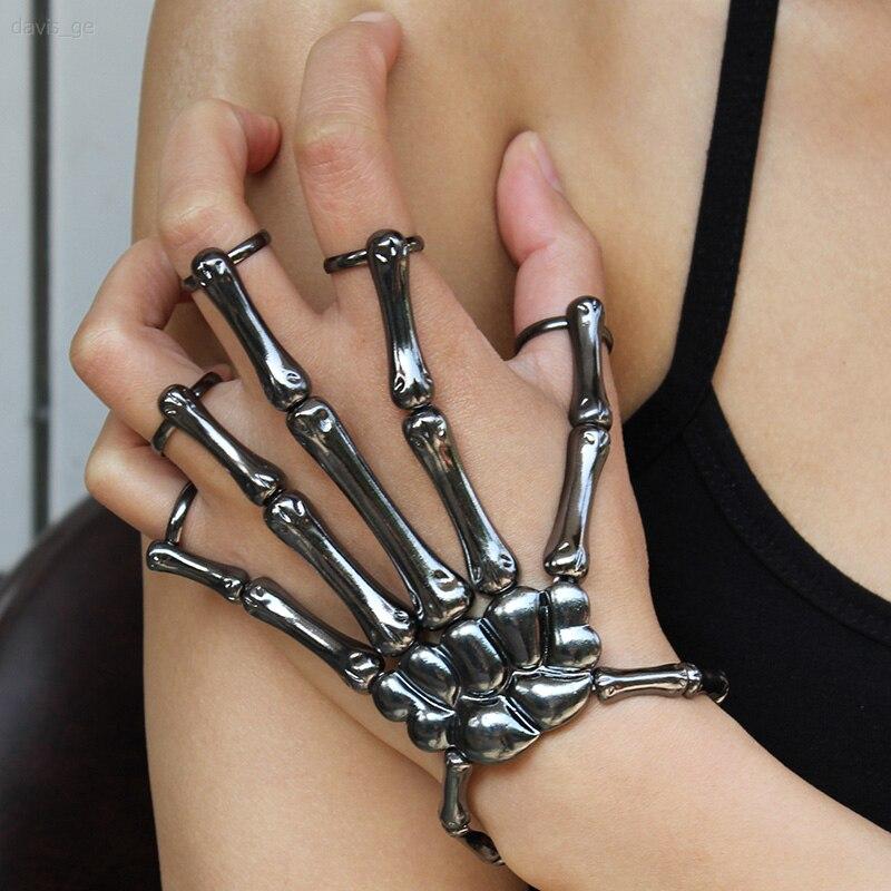Bracciale Halloween per donna gotico Punk mano teschio scheletro elasticità bracciale regolabile braccialetti accessori per feste Femme 2