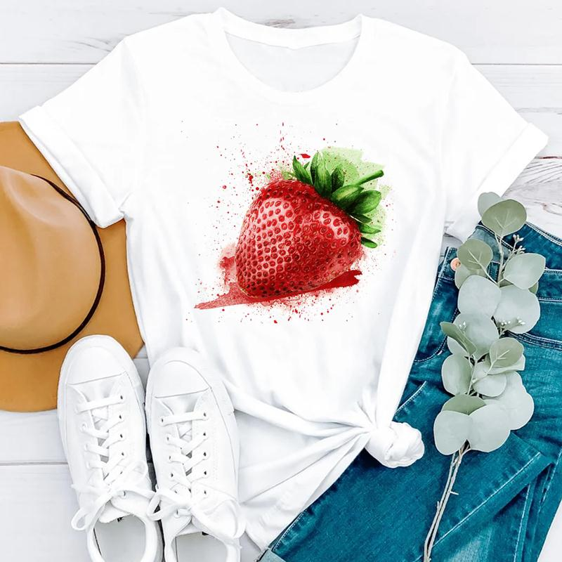 2021 Beach Holiday Summer Short Sleeve Women Cartoon Strawberry Cute Fashion Clothes Print Tshirt Female Tee Top Graphic T-shirt 1