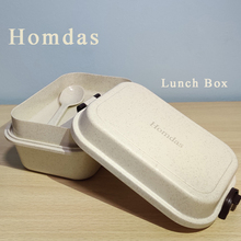 Homdas Microwave Lunch Box Wheat Straw Dinnerware Food Storage Container School Office Portable Bento Box