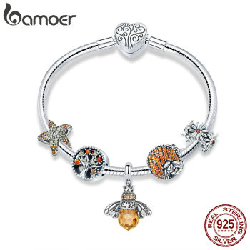 BAMOER 925 Sterling Silver Trendy Insect Bee Pendant Starfish Charm Bracelets Bangles for Women Sterling Silver Jewelry SCB805