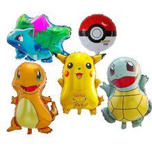 5pcs Cartoon Pikachu Pokemon Go Foil Balloons Children Infla