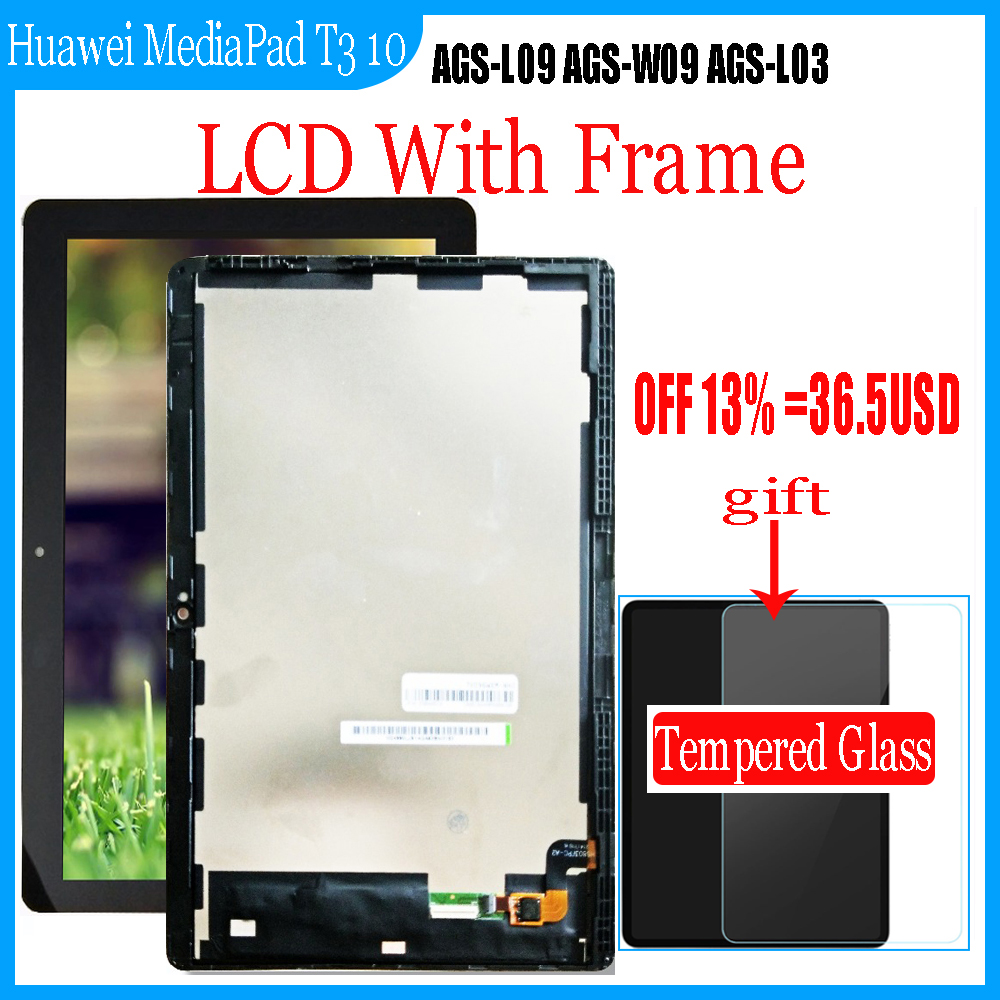9 6inch For Huawei MediaPad T3 10 AGS-L09 AGS-W09 AGS-L03 T3 9 6 LTE LCD Display with Touch Screen Digitizer Assembly Glass Film