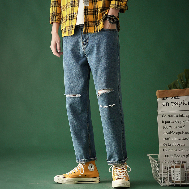 Erkek Kot Pantolon Vintage Jeans Men Ripped Pants 2020 Japan Streetwear  Shredded Patchwork Denim