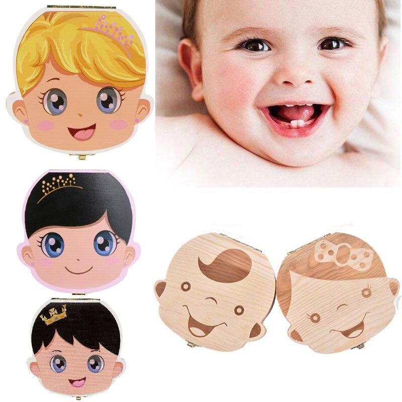 Baby Wood Tooth Box Organizer Milk Teeth Storage Collect Teeth Umbilica Save Gift Spanish/English/Dutch/Russian/French Teeth Box