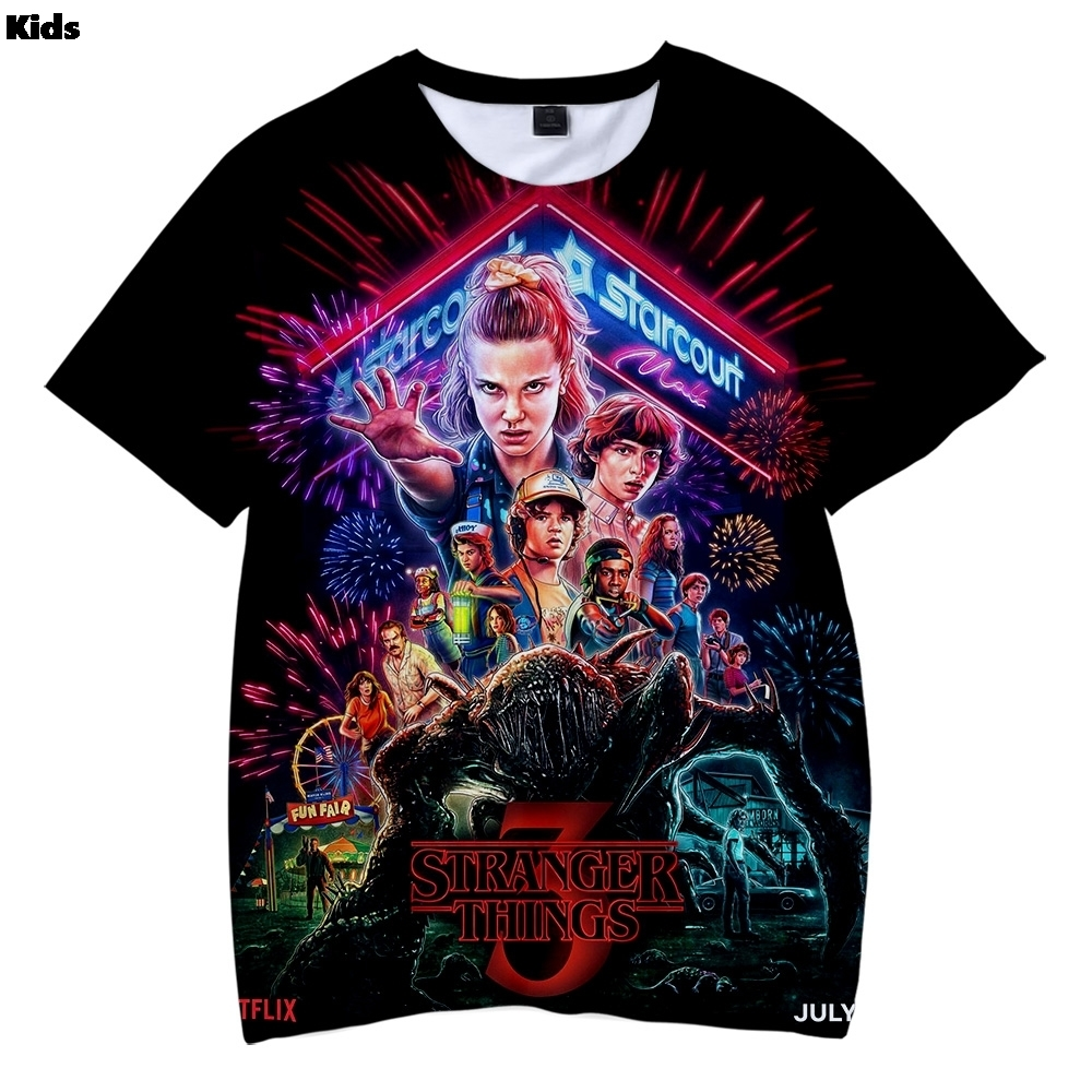 Boys 3d Printed 3d T Shirt 2019 Tv Show Summer T Shirts Harajuku Stranger Things Tops Tees Kids Casual Children Clothes T-shirt