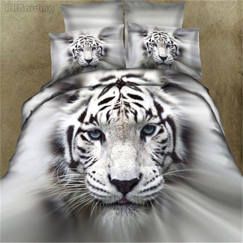 3d White Tiger Head Bedding Set 100% Cotton Bed Linen For Double Queen Bedclothes 4pcs Include Duvet Cover Bed Sheet Pillowcases
