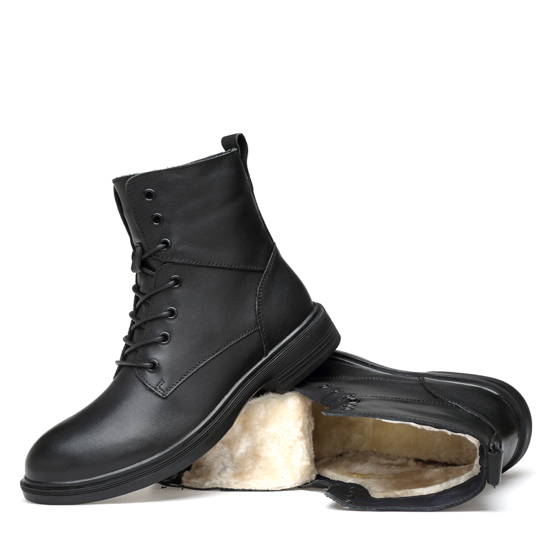 Winter men's boots 100% genuine leather casual shoes autumn & winter boot shoe man with fur black work ankle boots men