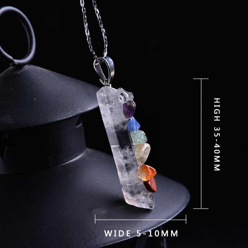 แฟชั่นสีสันคริสตัลธรรมชาติ energy love มิตรภาพ chakra stone healing เครื่องประดับของขวัญแร่จี้สร้อยคอที่มีสีสัน