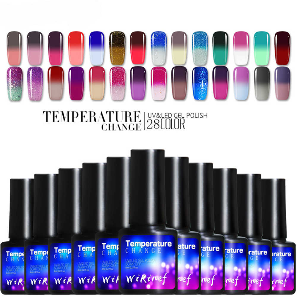 Baru Wirinef Gel Nail Polish 8 Ml Suhu Perubahan Warna Glitter Hybrid Pernis Semi Permanen Magic Nail Art Dekorasi Kuku