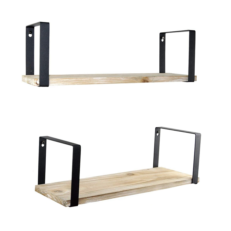 Floating Shelves Wall Mounted Set of 2  Rustic Torched Wood & Square Matting Bracket to Storage Organize and Display for Living|Storage Shelves & Racks| |  -