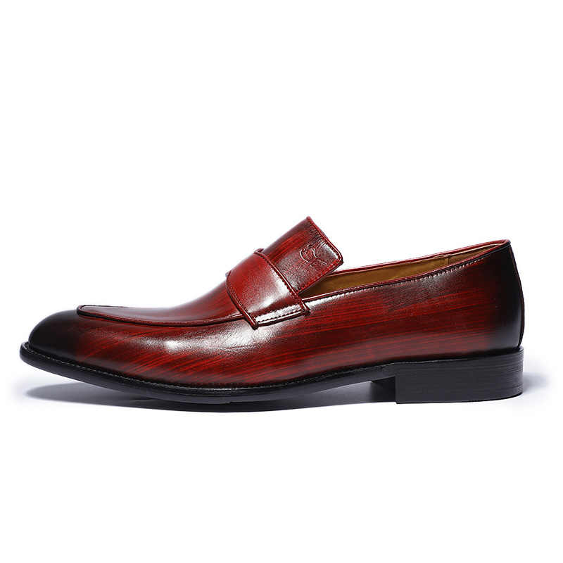 فيليكس تشو 2018 الربيع الخريف الرجال جلد طبيعي اللباس أحذية رسمت باليد الأحمر الزفاف حزب مأدبة الذكور الانزلاق على الأحذية